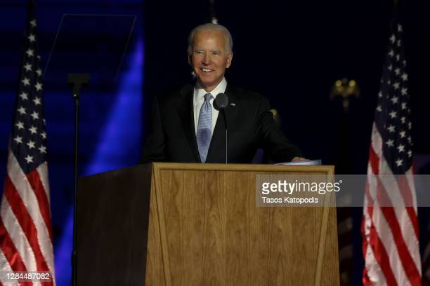 President-elect Joe Biden addresses the nation at the Chase Center November 07, 2020 in Wilmington, Delaware. After four days of counting the high...