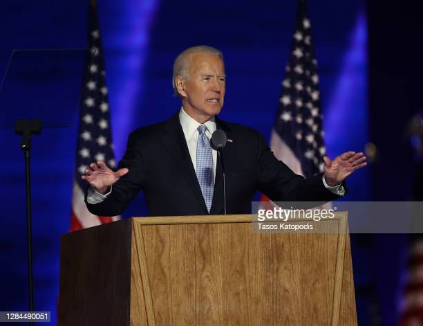 President-elect Joe Biden addresses the nation from the Chase Center November 07, 2020 in Wilmington, Delaware. After four days of counting the high...