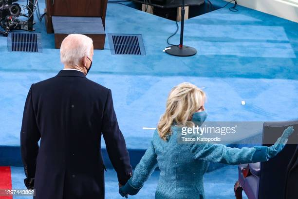 President-elect Joe Biden and Dr. Jill Biden arrive at Biden's inauguration on the West Front of the U.S. Capitol on January 20, 2021 in Washington,...