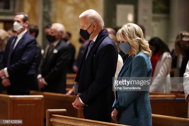 President-elect Joe Biden and Dr. Jill Biden attend services at the Cathedral of St. Matthew the Apostle with Congressional leaders prior the 59th...