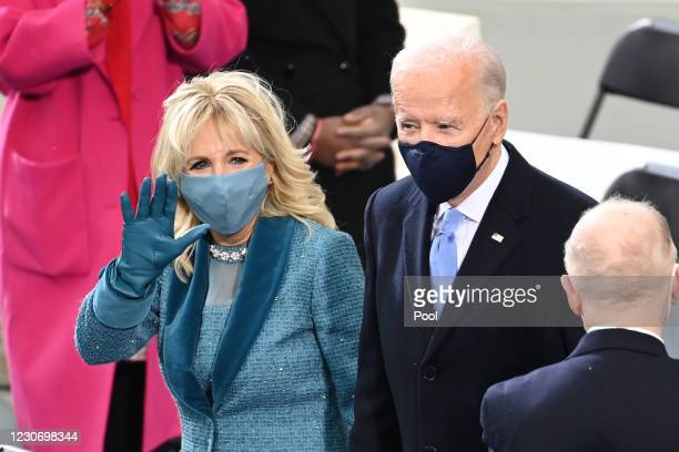 President-elect Joe Biden and his wife Jill Biden arrive for the swearing in ceremony during the 59th Presidential Inauguration at the U.S. Capitol...