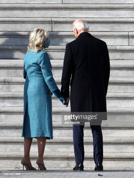 President-elect Joe BIden and his wife Jill Biden arrive for the inauguration on the East Front of the U.S. Capitol on January 20, 2021 in...