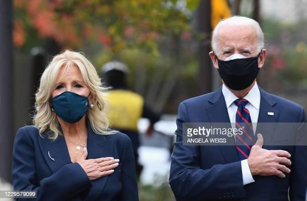President-elect Joe Biden and his wife Jill Biden pay their respects during a Veterans Day stop at the Korean War Memorial Park in Philadelphia,...