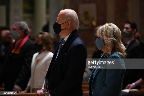 President-elect Joe Biden and incoming First Lady Jill Biden attend Mass at the Cathedral of St. Matthew the Apostle in Washington, DC, on January...