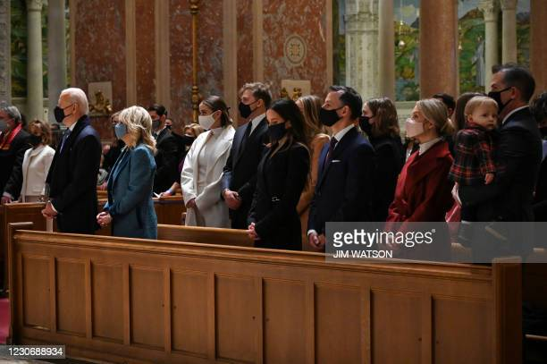 President-elect Joe Biden and incoming First Lady Jill Biden attend Mass with family members and leaders of Congress at the Cathedral of St. Matthew...