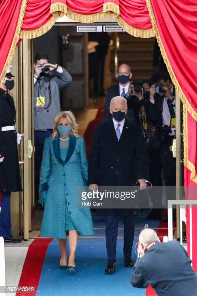 President-elect Joe Biden and Jill Biden arrive at his Biden's inauguration on the West Front of the U.S. Capitol on January 20, 2021 in Washington,...