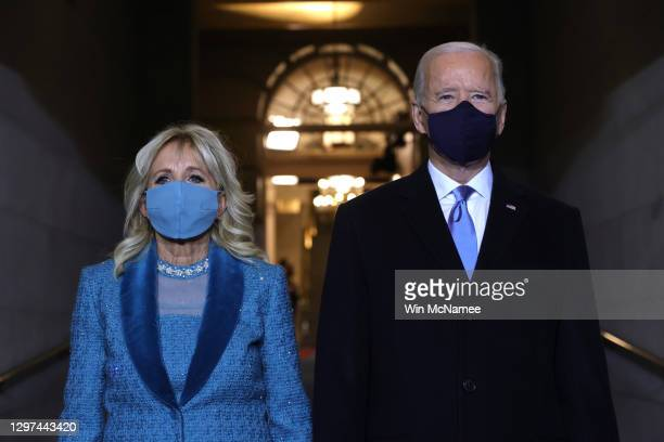 President-elect Joe Biden and Jill Biden arrive to Biden's inauguration on the West Front of the U.S. Capitol on January 20, 2021 in Washington, DC....