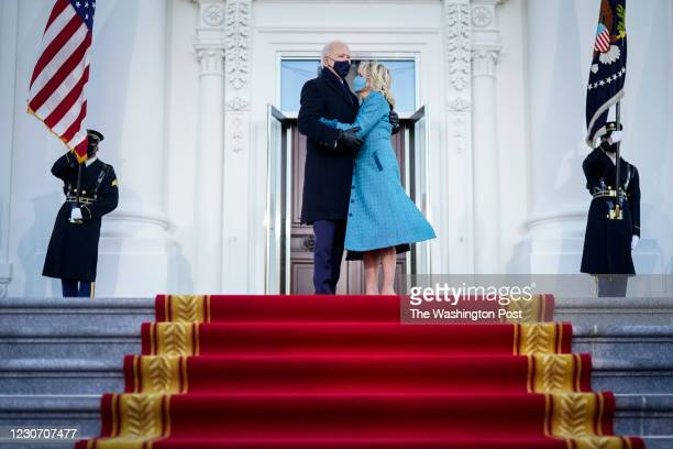 President-elect Joe Biden and Jill Biden hug before entering the White House. Joe Biden Is sworn In as 46th President of the United States on January...