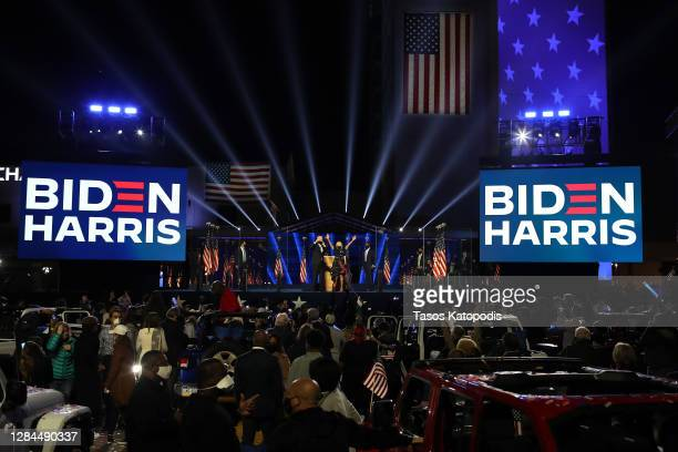 President-elect Joe Biden and Jill Biden wave to the crowd after Biden's address to the nation from the Chase Center November 07, 2020 in Wilmington,...