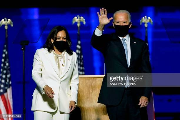 President-elect Joe Biden and Vice President-elect Kamala Harris arrive to deliver remarks in Wilmington, Delaware, on November 7 after being...