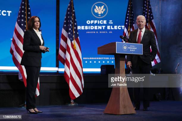 President-elect Joe Biden and Vice President-elect Kamala Harris hold a press conference after a virtual meeting with the National Governors...