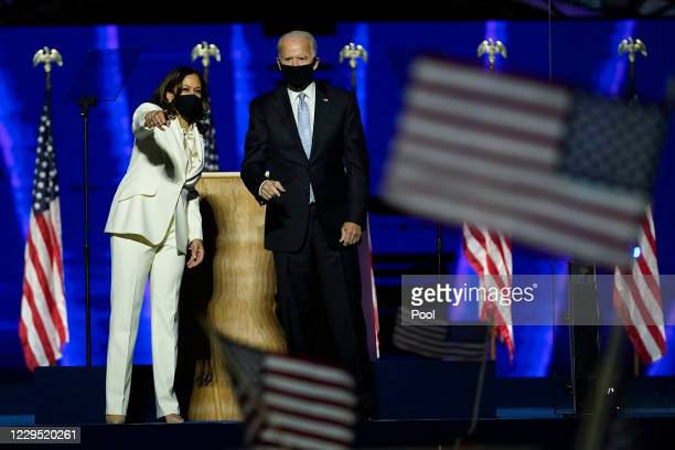 President-elect Joe Biden and Vice President-elect Kamala Harris take the stage at the Chase Center to address the nation November 07, 2020 in...