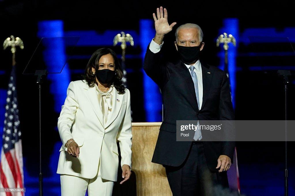President-Elect Joe Biden And Vice President-Elect Kamala Harris Address The Nation After Election Win : News Photo