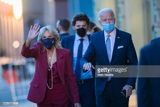 President-elect Joe Biden, and wife, Dr. Jill Biden, depart the Queen Theater after introducing key foreign policy and national security nominees and...