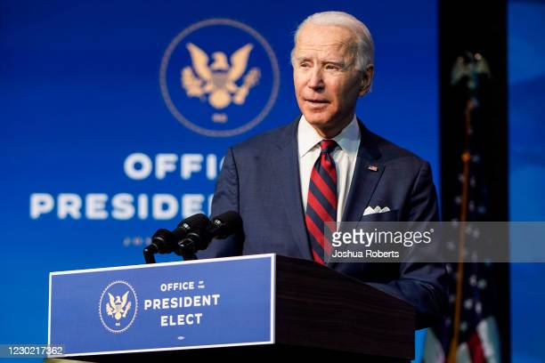 President-elect Joe Biden announces members of his climate and energy appointments at the Queen theater on December 19, 2020 in Wilmington, Delaware....