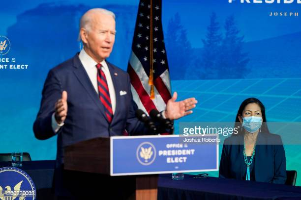 President-elect Joe Biden announces members of his climate and energy appointments, including Congresswoman Deb Haaland, at the Queen theater on...