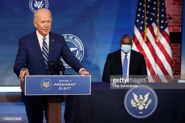 President-elect Joe Biden announces U.S. Army General Lloyd Austin as his choice to be Secretary of the Department of Defense at the Queen Theater...