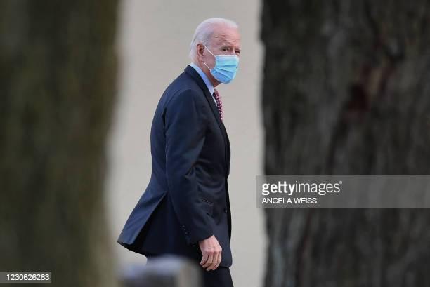President-elect Joe Biden arrives at St. Joseph on the Brandywine Roman Catholic Church on January 16, 2021 in Wilmington, Delaware. -...