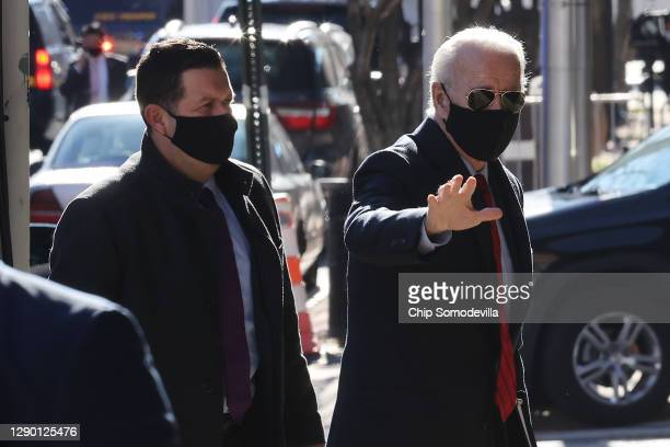 President-elect Joe Biden arrives at the Queen Theater before announcing the members of his health policy team December 08, 2020 in Wilmington,...