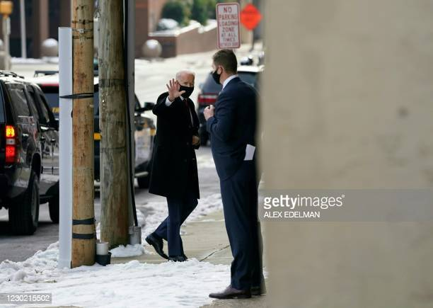 President-elect Joe Biden arrives at The Queen Theater in Wilmington, Delaware on December 19, 2020. - President-elect Joe Biden and Vice...