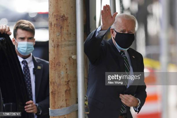 President-elect Joe Biden arrives at the Queen theater January 16, 2021 in Wilmington, Delaware. President-elect Biden is expected to announce key...