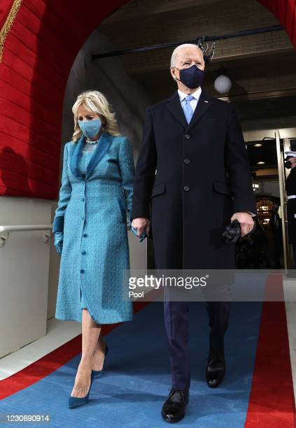 President-elect Joe Biden arrives with his wife Dr. Jill Biden for his inauguration on the West Front of the U.S. Capitol on January 20, 2021 in...