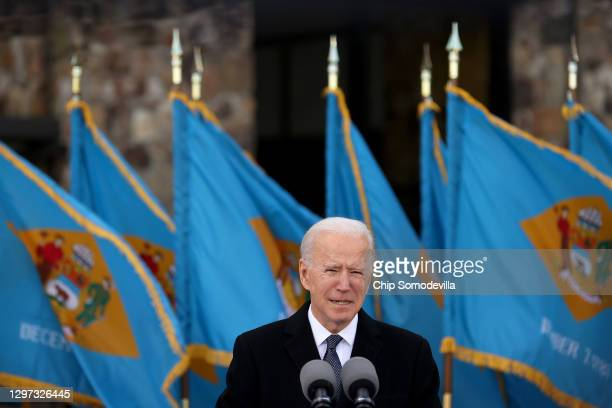 "President-elect Joe Biden becomes emotional as he delivers remarks at the Major Joseph R. ""Beau"" Biden III National Guard/Reserve Center January 19,..."