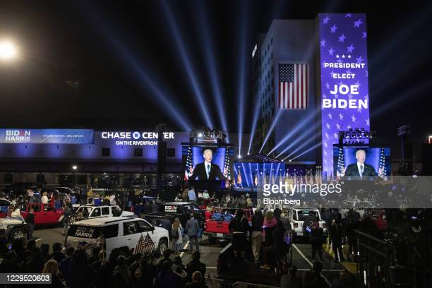President-elect Joe Biden, center right, speaks while delivering an address to the nation during an election event in Wilmington, Delaware, U.S., on...