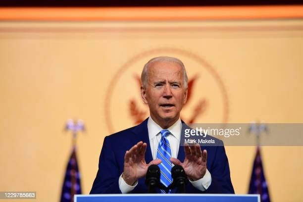 President-elect Joe Biden delivers a Thanksgiving address at the Queen Theatre on November 25, 2020 in Wilmington, Delaware.As Biden waits to be...