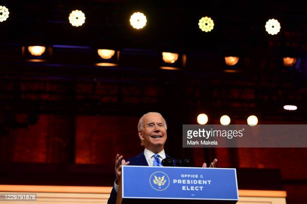 Presidentelect Joe Biden delivers a Thanksgiving address at the Queen Theatre on November 25 2020 in Wilmington DelawareAs Biden waits to be...