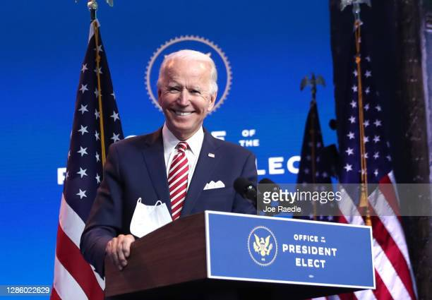 President-elect Joe Biden delivers remarks about the U.S. Economy during a press briefing at the Queen Theater on November 16, 2020 in Wilmington,...