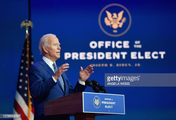 President-elect Joe Biden delivers remarks at The Queen in Wilmington, Delaware, on November 9, 2020. - President Donald Trump was still refusing to...