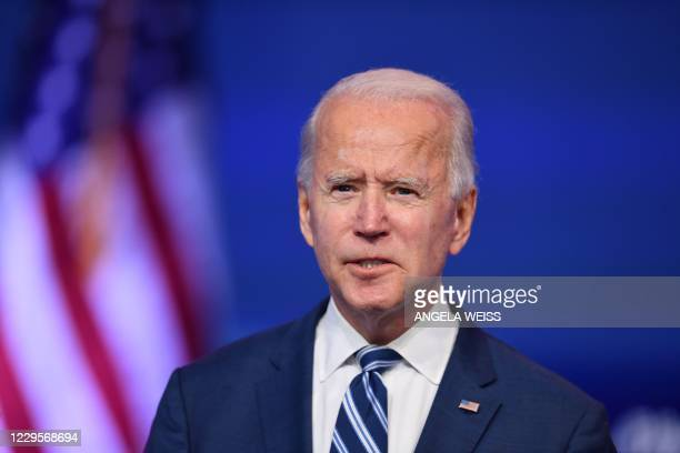 President-elect Joe Biden delivers remarks at The Queen in Wilmington, Delaware, on November 10, 2020. - A week after losing the US election,...