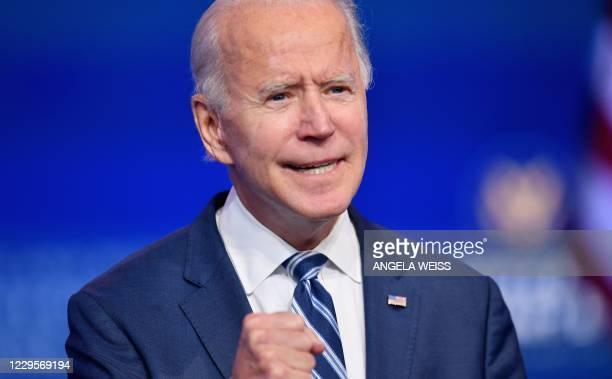 President-elect Joe Biden delivers remarks at The Queen in Wilmington, Delaware, on November 10, 2020. - President-elect Joe Biden said November 10,...