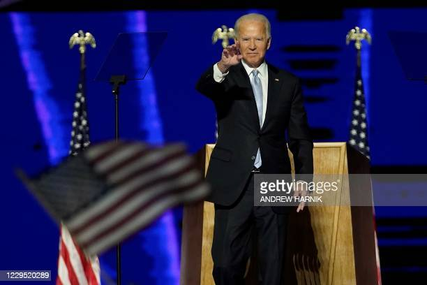 President-elect Joe Biden delivers remarks in Wilmington, Delaware, on November 7 after being declared the winner of the US presidential election.
