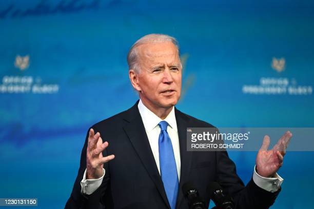 President-elect Joe Biden delivers remarks on the Electoral college certification at the Queen Theatre in Wilmington, Delaware on December 14, 2020.