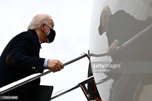 President-elect Joe Biden departs Newcastle Airport in Wilmington, Delaware, on January 4, 2021. - President Donald Trump, still seeking ways to...