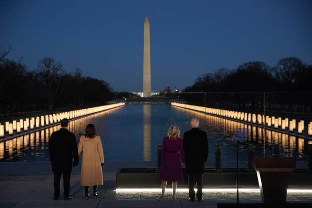 DC: President-Elect Biden Attends Covid Lighting Ceremony At Lincoln Memorial Reflecting Pool