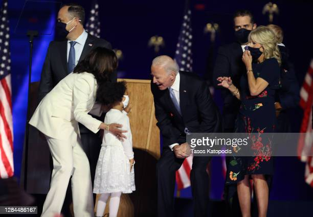 President-elect Joe Biden greets family of Vice President-elect Kamala Harris on stage after Biden's address to the nation from the Chase Center...
