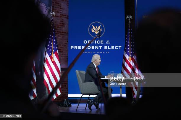 President-elect Joe Biden holds a virtual meeting with the National Governors Association's executive committee at the Queen Theater on November 19,...