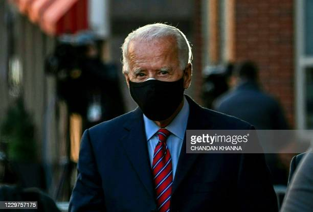 President-elect Joe Biden leaves the Queen after meeting virtually with the United States Conference of Mayors in Wilmington, Delaware, on November...