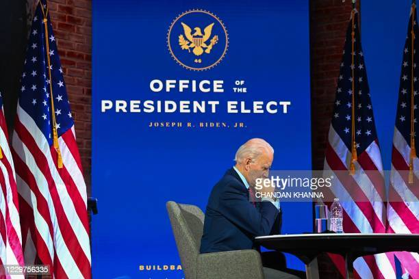 President-elect Joe Biden participates in a virtual meeting with the United States Conference of Mayors at the Queen in Wilmington, Delaware, on...