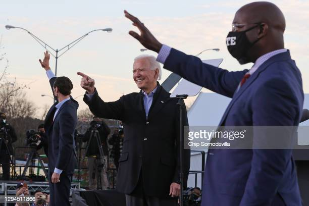 President-elect Joe Biden rallys with Democratic candidates for the U.S. Senate Jon Ossoff and Rev. Raphael Warnock the day before their runoff...
