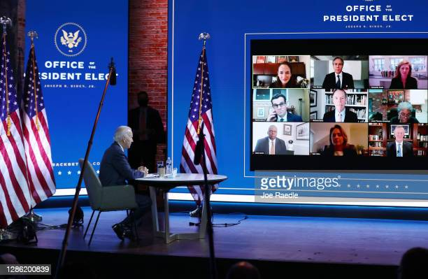 President-elect Joe Biden receives a briefing on national security in a Zoom meeting with advisors at the Queen Theater on November 17, 2020 in...