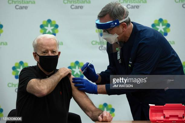 President-elect Joe Biden receives the second course of the Pfizer-BioNTech Covid-19 vaccine at Christiana Hospital in Newark, Delaware, on January...