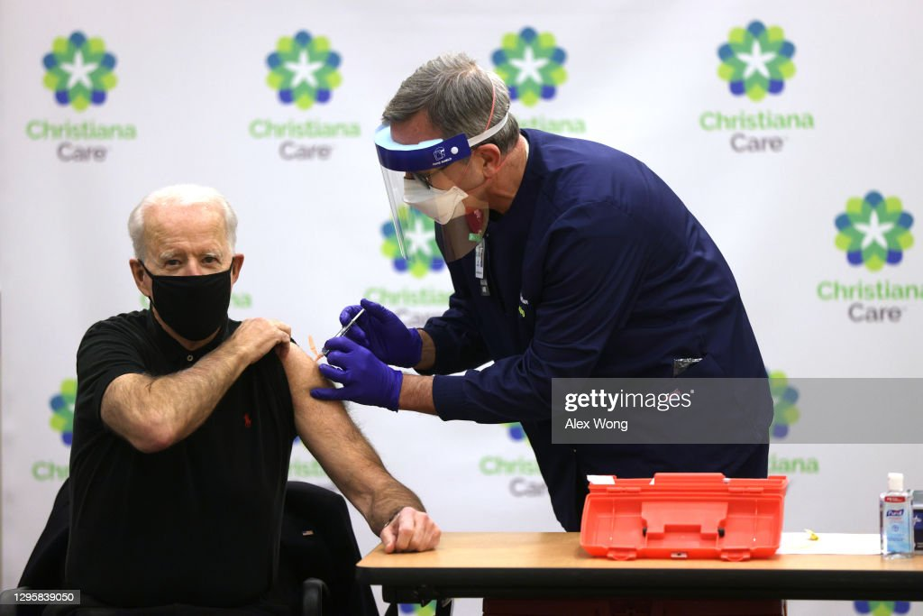 President-Elect Biden And Vice President-Elect Harris Receive Second Round Of COVID-19 Vaccination : News Photo