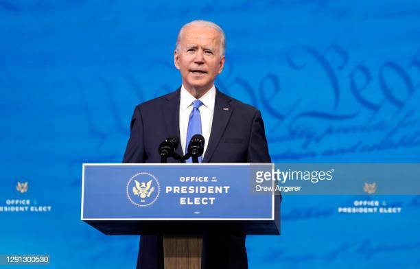 President-elect Joe Biden speaks about the Electoral College vote certification process at The Queen theater on December 14, 2020 in Wilmington,...