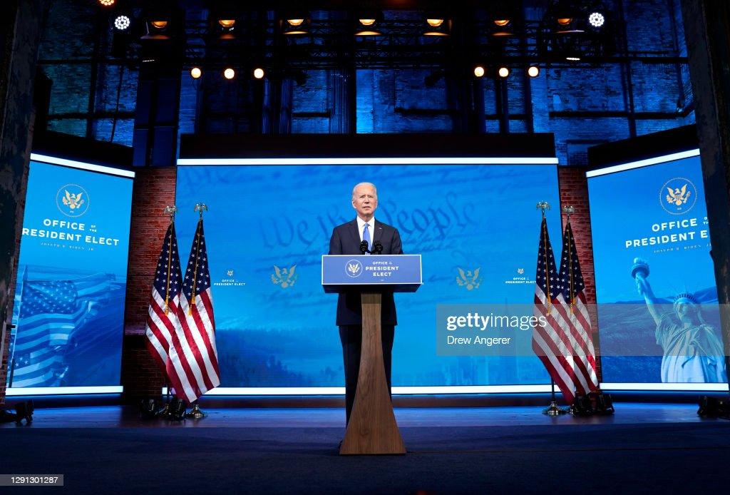 President-Elect Biden Delivers Statement After Electoral College Vote Certification : News Photo