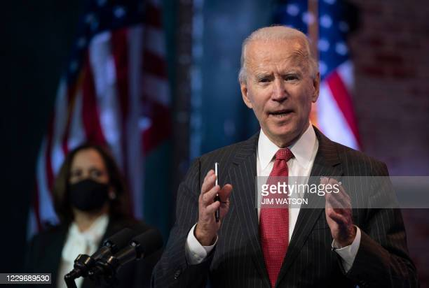 President-elect Joe Biden speaks after a meeting with governors in Wilmington, Delaware, on November 19, 2020. - Biden said today he would not order...