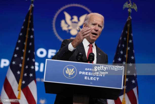 President-elect Joe Biden speaks as he addresses the media after a virtual meeting with the National Governors Association's executive committee at...